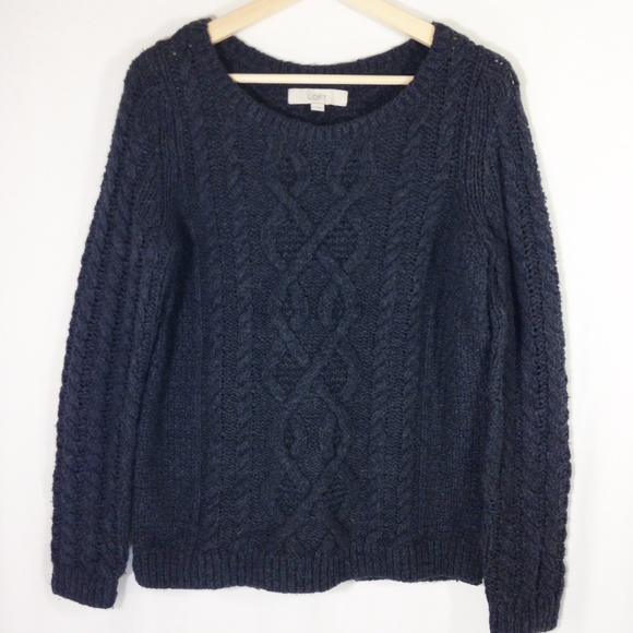 Grey Chunky Cable Knit Sweater M by Loft